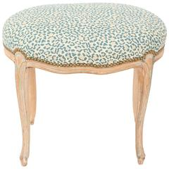 Oval Louis XV Stool with Pickled Finish