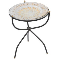 Iron Accent Table with Glazed Terracotta Charger Top