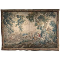 Large 18th Century French Aubusson Pastoral Tapestry in the Manner of Boucher