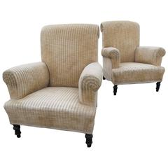 Pair of Napoleon III Velvet Armchairs