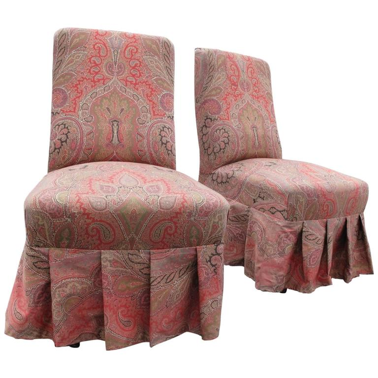 Pair Of 19th Century French Paisley Chairs For Sale