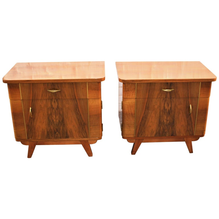 Austrian Deco Pair of Veneer Nightstands For Sale