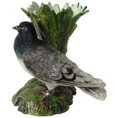 Large Majolica Grey Pigeon Vase Jerome Massier, circa 1890