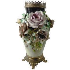 19th Century Monumental Majolica Impressionist Flowers Vase Mounted Bronze