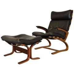 Vintage Leather Armchair and Ottoman by Sormani of Italy, 1963