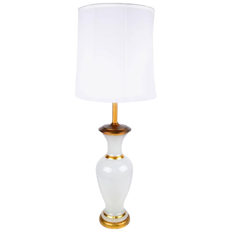 Stunning 1950s Opal Glass and Brass Table Lamp For Sale