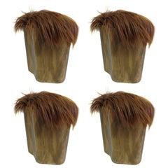 Four Gilt & Horse Hair Stools Attr. Vivienne Westwood & Malcolm McLaren, 1975
