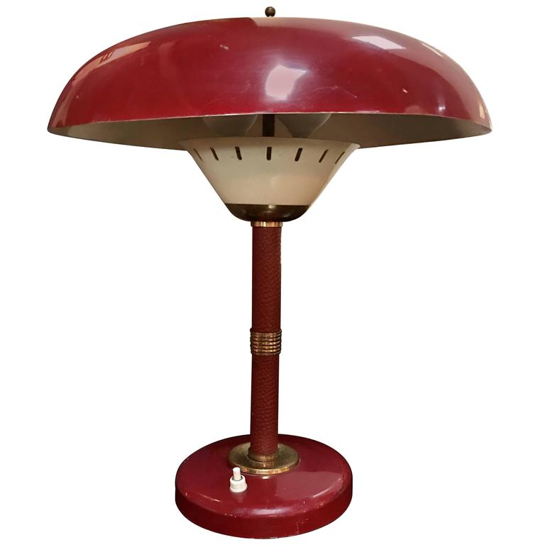 Arredoluce Attributed Table Lamp 1950s Whit Original Red Leather For Sale
