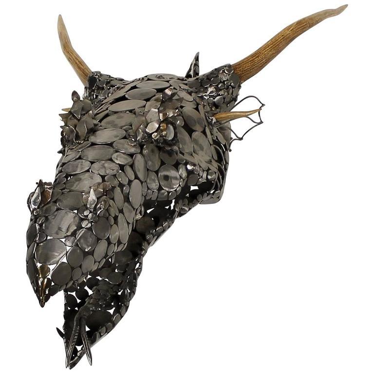 Decorative Scrap Metal : Dragon head scrap metal and antler d wall sculpture by