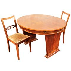 French Art Deco Desk Table and Two Chairs