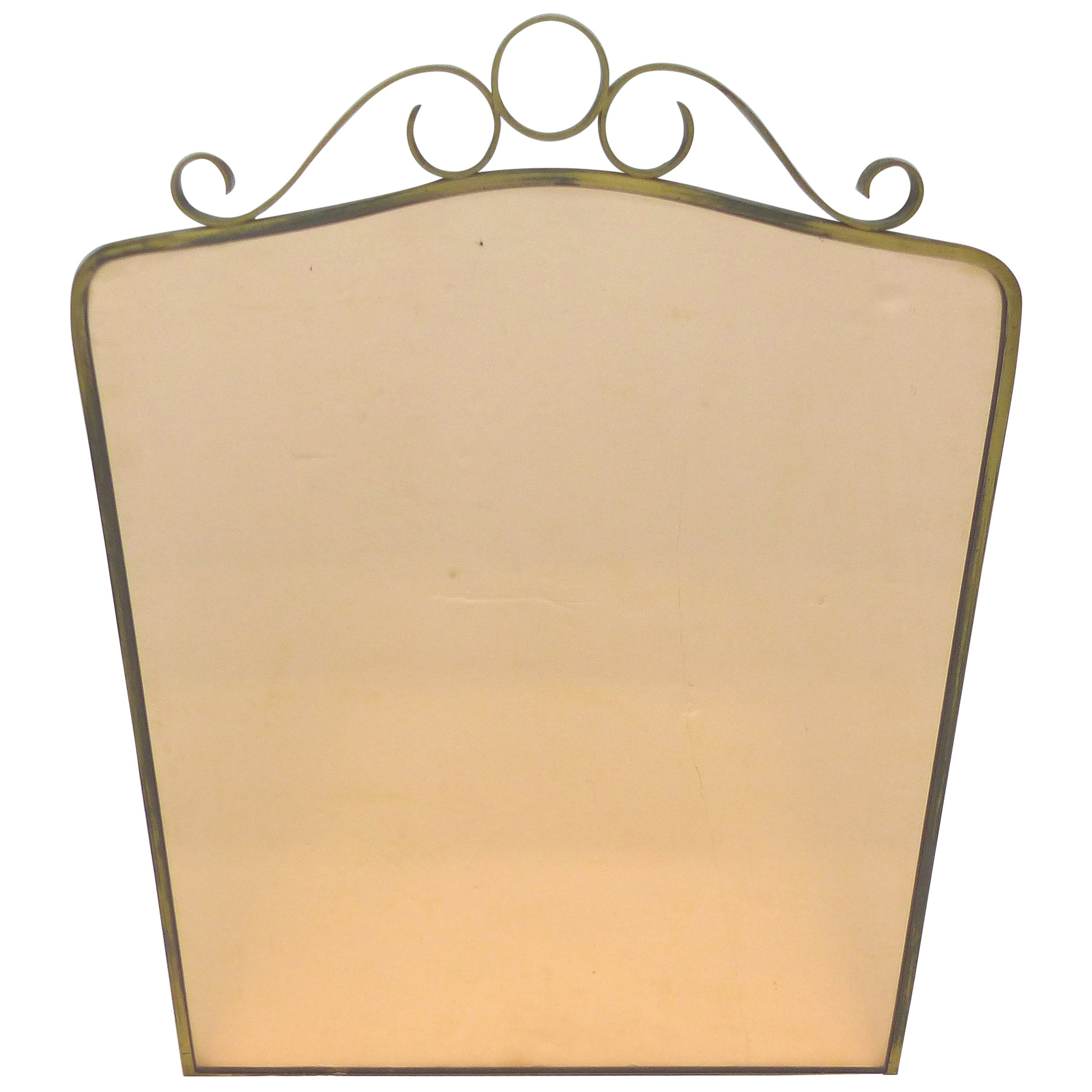 Art Deco Brass Peach Glass Wall Mirror