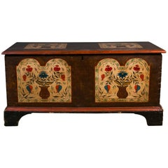 Antique Wooden Trunk Hand-Painted by American Folk Artist Lew Hudnall