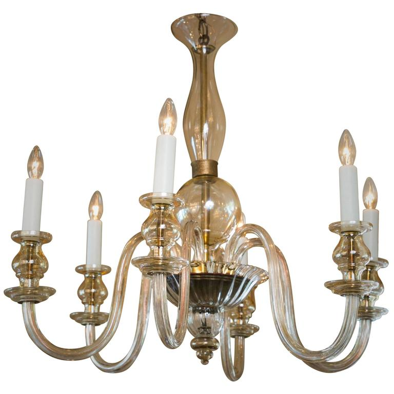 Champagne Colored Blown Murano Glass Chandelier With Six