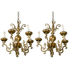 Near Pair Belgian Brass Georgian Style Chandeliers, circa 1900