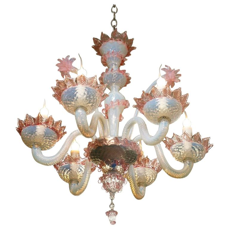 Pink and White Murano Blown Glass Chandelier with Flowers, circa 1940 For Sale