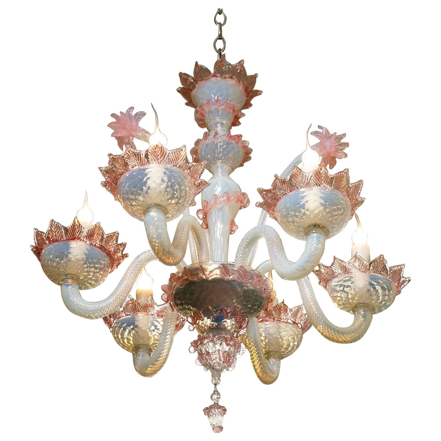 Pink And White Murano N Glass Chandelier With Flowers Circa 1940