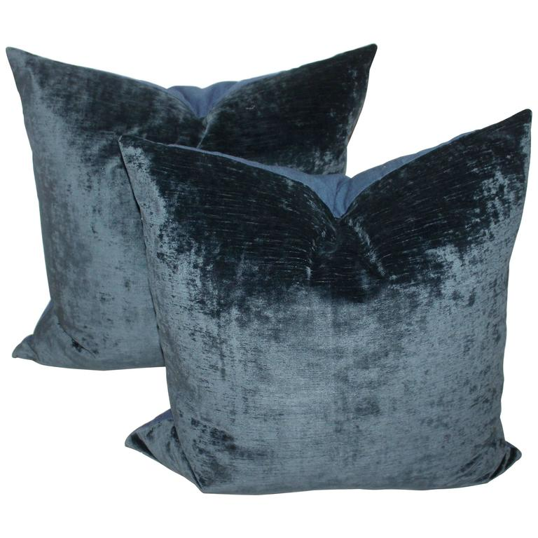 Indigo Blue Velvet Pillows At 1stdibs