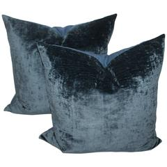 Indigo Blue Velvet Pillows