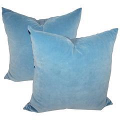 Robin Egg Blue Velvet Pillows