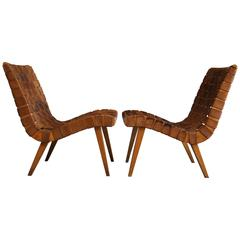 Jens Risom Leather Strapped Lounge Chairs