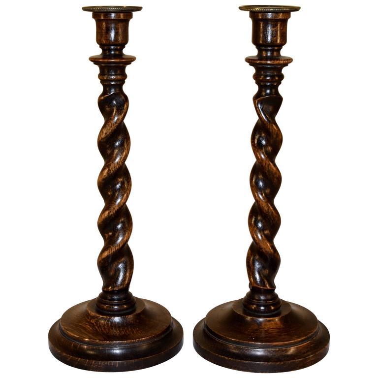 19th Century Pair of English Oak Candlesticks