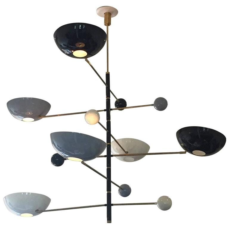 Italian Modern Six-Light Counterpoise Pendant Chandelier 1
