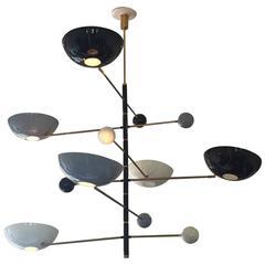 Stylish Italian Modern Six-Light Counterpoise Pendant