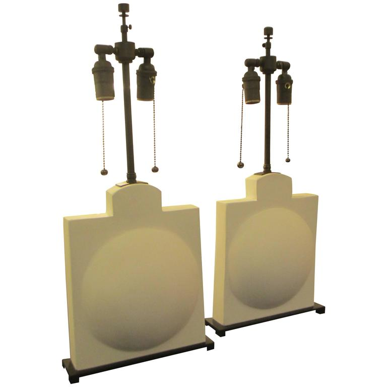 Pair of modern sculptural plaster lamps.
