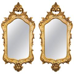 Pair of Hand-Painted  Giltwood Italian Mirrors