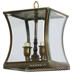 Small Brass Beveled Glass Lantern