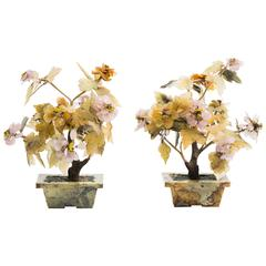 Pair of Asian Jade and Carved Stone Floral Arrangements
