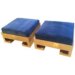 Pair of Greek Key Gold Brass Ottomans Stools Benches Blue Velvet Cushions