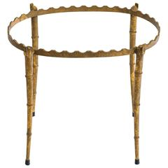 Oval Gilt Faux Bamboo Side Table
