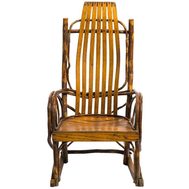 children 39 s adirondack bentwood oak hickory rocking chair for sale at 1stdibs. Black Bedroom Furniture Sets. Home Design Ideas