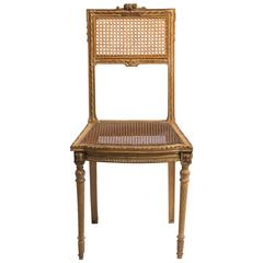 1920s Hand-Carved French Caned Side Chair