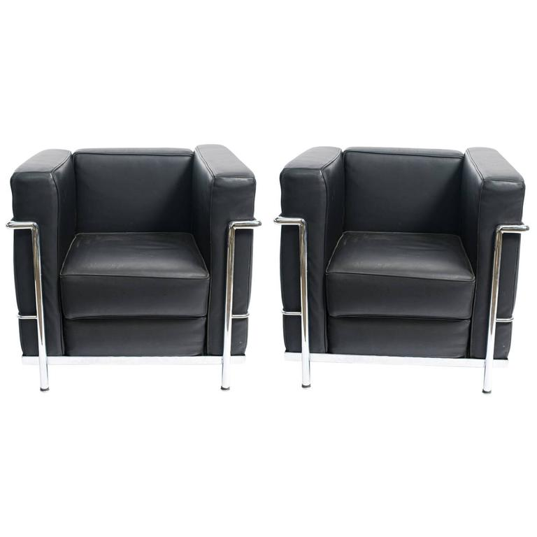 Pair of Le Corbusier LC-2 Style Leather  Lounge Chairs