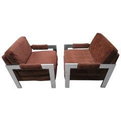 Chunky Chrome Pair Milo Baughman StyleLounge Chairs, Mid-Century Modern