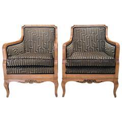 Pair of Swedish Flame Birch Armchairs