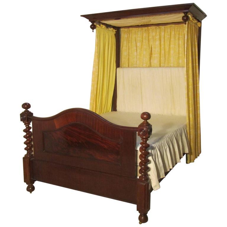 Victorian Mahogany Half Tester Bed, Sunburst Canopy Barley Twist Columns 1
