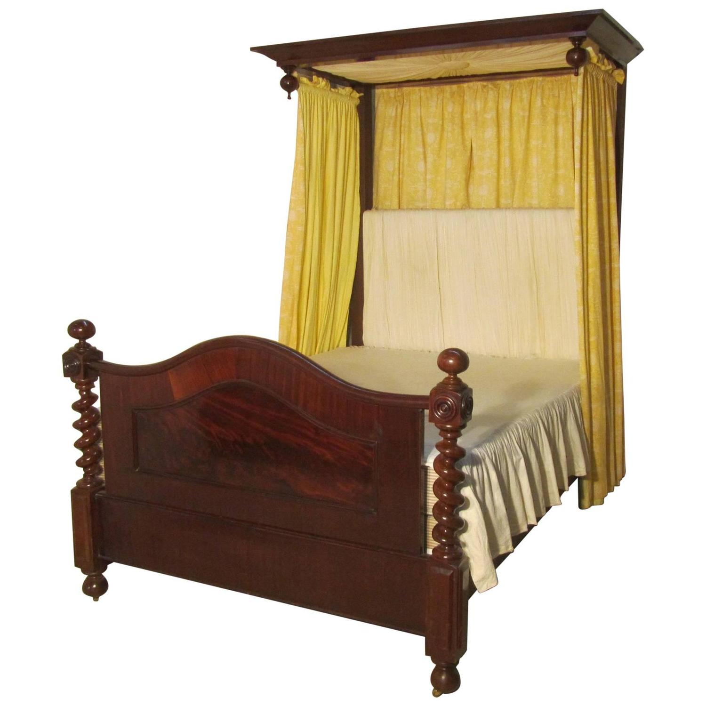 victorian mahogany half tester bed sunburst canopy barley twist columns