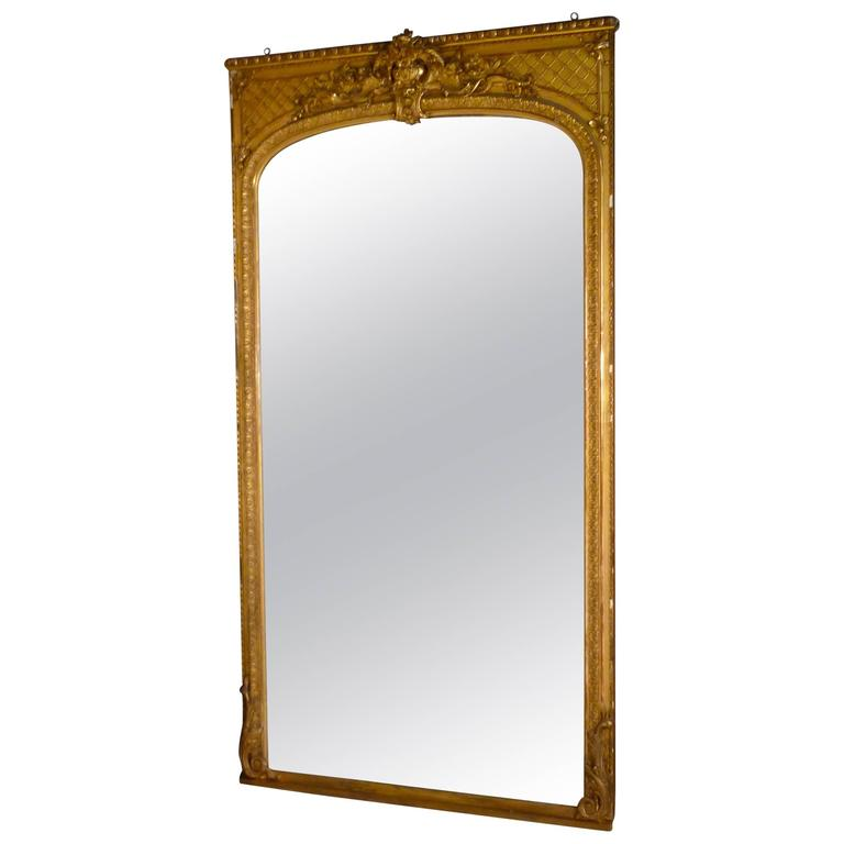 Early 19th Century Very Large French Gold Mirror, Gilt Console Mirror