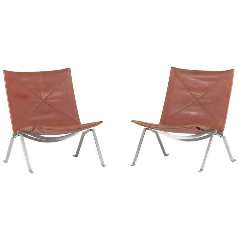 "Pair of ""Pk 22"" Lounge Chairs by Poul Kjaerholm"