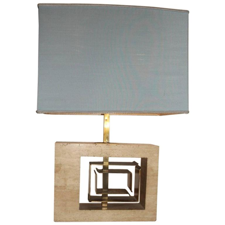 Minimal Table Lamp Sculptural 1970s Italian Design Brass Marble  For Sale