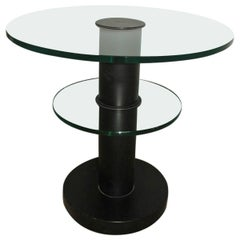 Round Coffee Table Gio Ponti for Fontana Arte, 1960s Black Trasparent Glass