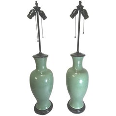 Pair of Celadon Table Lamps on Asian Style Bases