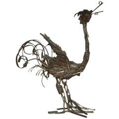 Bird Mid-Century Modern  Brutalist Sculpture in Metal in 1970 Italian design