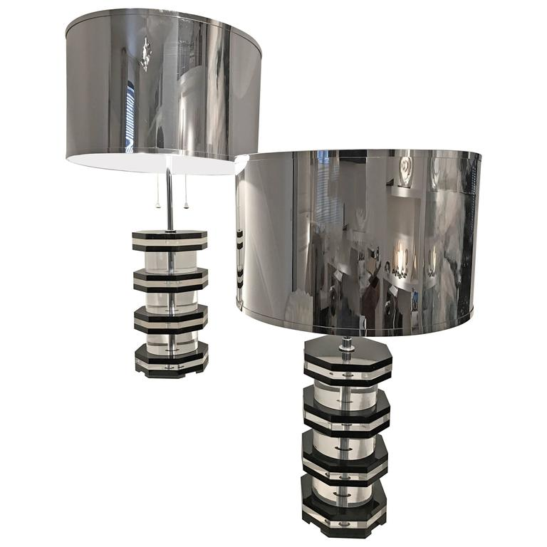 Pair of Plexi Vintage Lamps with Exceptional Mirror Shades