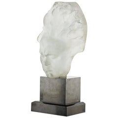 Rare Frosted Glass Beethoven Bust Table Lamp by Lucien Lafaye for Perzel