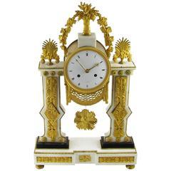 Late-18th Century French Louis XVI White Marble and Ormolu Gilt Mantel Clock