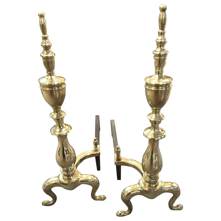 Pair of Late 19th Century Solid Brass Andirons with Log Stops